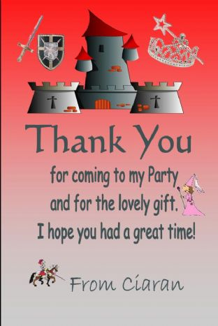 Personalised Knight & Princess Theme Thank You Cards